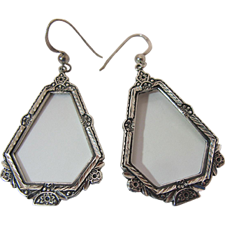Antique Sterling Silver Dangle Earrings With Rosettes French Wire Findings