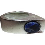 Mid Century Modernist Sterling Silver And Sodalite Ring