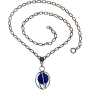Art Deco Vintage Caged Blue Glass Orb Pendant On Wonderful Stamped Sterling Silver Chain