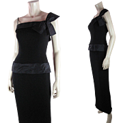 Sultry 1960's Vintage Black One-Shoulder Evening Dress With Cameo, New York Label