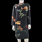 Circa 1980 Vintage Leonard Paris Printed Silk Crepe Dress