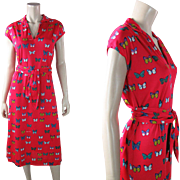 Pretty 1970's Vintage Hanae Mori Belted Shift Dress With Butterfly Print