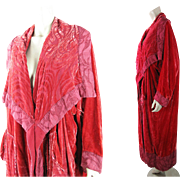 Luscious 1980's Coral Red Silk Velvet Cocoon Style Evening Coat