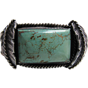 Vintage Navajo Silver Cuff Bracelet With Fine 13.6 Carat Nevada Green Turquoise Cabochon