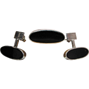 Vintage Mexican Modernist 950 Silver And Black Onyx Saddle Ring And Post Earring Set