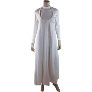 Romantic 1970's White Cotton India Imports Dress