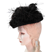 Stylish Antique French Belle Epoque Tri-Corne Hat With Marie Louise Paris Label