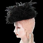 Stylish Antique French Belle Epoque Tri-Corne Hat With Marie Louise Paris Label