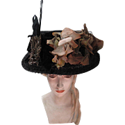 Grand And Exquisitely Decorated Edwardian Straw And Horsehair Hat