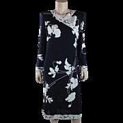 Circa 1980 Vintage Leonard Paris Printed Mikado Silk Jersey Wrap Dress