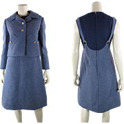 1960's Vintage Bill Blass For Maurice Rentner Cadet Blue Dress And Jacket Ensemble