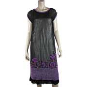 1920's Vintage Art Deco Beaded Silk Dress And Underdress In Larger Size And Strong Wearable Condition