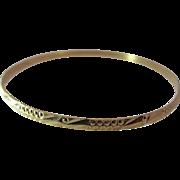 Vintage Bright Cut 18K Yellow Gold Bangle Bracelet