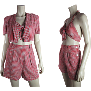 Pristine Vintage 1940's 3-Piece Halter Style Swim / Bathing Suit With Cropped Jacket