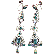Antique 2 1/2-Inch Austro Hungarian Emerald, Green Paste And Pearl Dangle Earrings With Original Hallmarked Findings