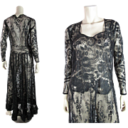 Exquisite 1930's Vintage Black Chantilly Lace Dress