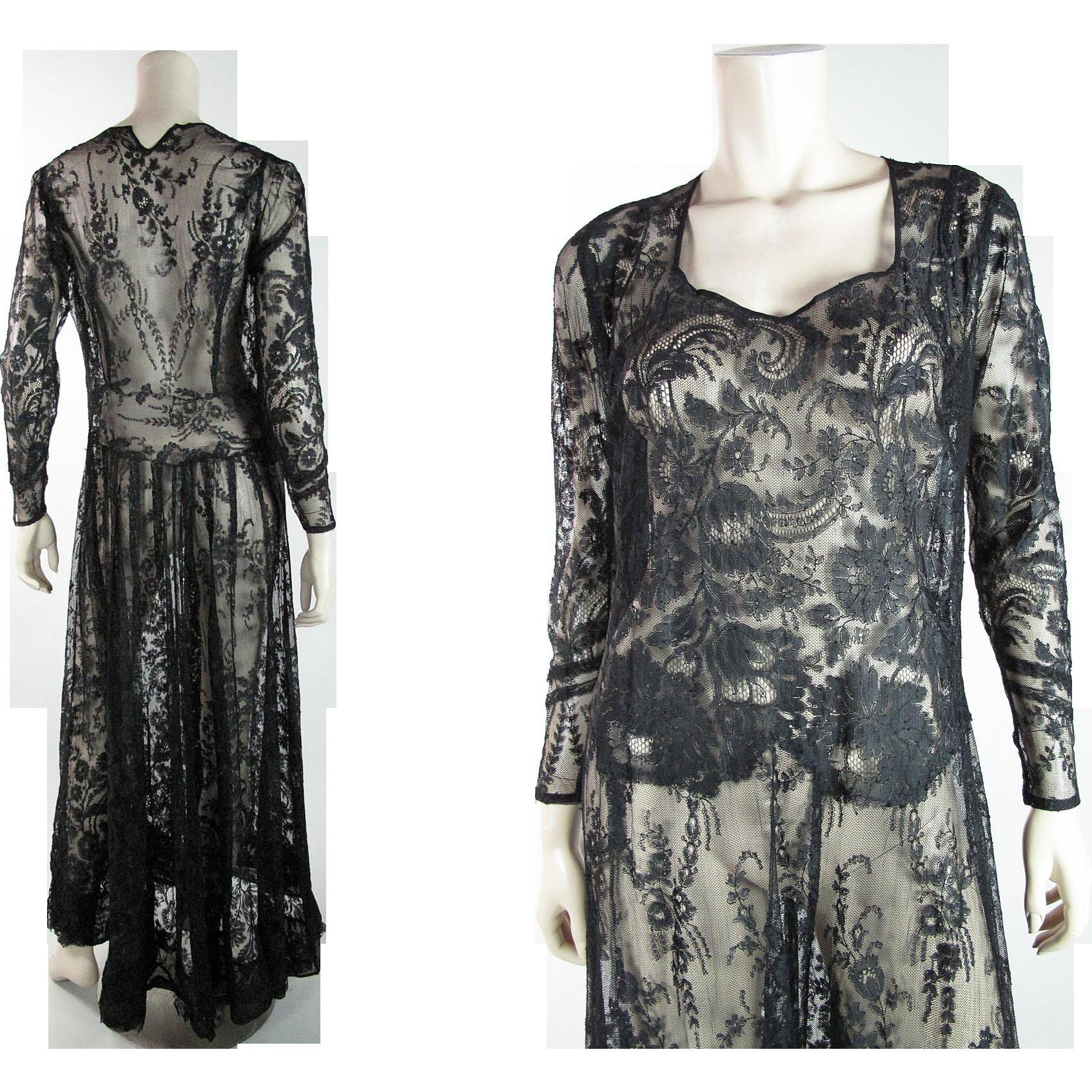 Exquisite 1930's Vintage Black Chantilly Lace Dress