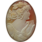 Antique 14K Yellow Gold Cameo Pendant - Brooch Of Erato