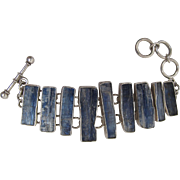 Striking Charles Albert Sterling Silver And Kyanite Bracelet