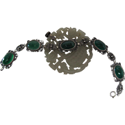 Art Deco Vintage Sterling Silver Filigree And Chrysoprase 8-Inch Line Bracelet
