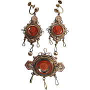 Antique Victorian Gold-Filled Pin And Earrings Set With Coral Roses