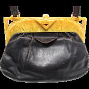 1930's Vintage Art Deco Butterscotch Bakelite And Leather Handbag / Purse