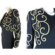 1980's Christian Dior Beaded Cropped Jacket With Bullion Trim And Rhinestones