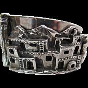 Rare Vintage Carol Felley Sunrise Sterling Silver Southwestern Pueblo Bracelet