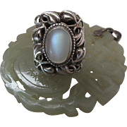 Antique Arts & Crafts Sterling Silver Instone Style Leaf Ring With Luminous 2.5 carat Moonstone Cabochon