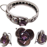 Vintage Los Ballesteros Sterling Silver And Alexandrite Set With Bracelet Earrings And Pendant Brooch
