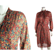 Pretty 1930's Vintage Printed Silk Crepe Belted Day Dress