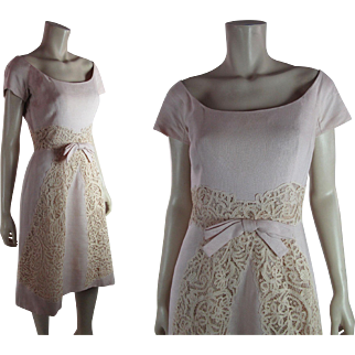 Breezy Vintage Samuel Winston By Roxane Pink Linen And Lace Dress