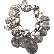 Outstanding Vintage Sterling Silver And 14K Gold Loaded Charm Bracelet