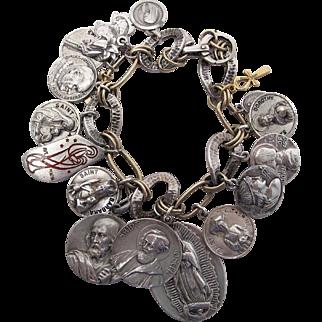 Outstanding Vintage Sterling Silver And 14K Gold Loaded Charm Bracelet