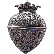 Antique Victorian Repoussé Silver Crowned Heart Locket / Vinaigrette / Box