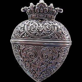 Antique Victorian Repoussé Silver Crowned Heart Locket / Vinaigrette / Box