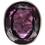 Massive Vintage Sterling Silver 28 Carat Created Pink Sapphire Ring