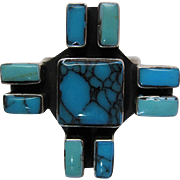 Vintage Southwestern Silver Cross Ring With Fine Turquoise Cabochons