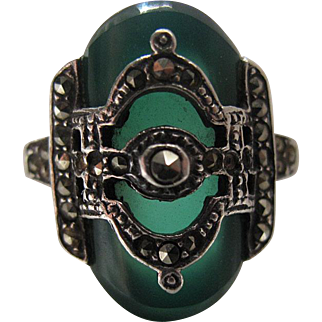 Vintage Art Deco Sterling Silver Chrysoprase And Marcasite Ring