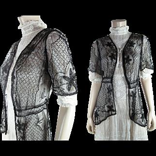 Wonderful Edwardian Belle Epoque Hand Beaded Tulle Jacket
