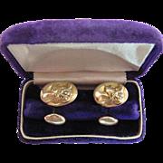 Antique Figural 14K Gold Art Nouveau Cufflinks With Diamonds And Original Box