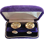 Antique Figural 14K Gold Art Nouveau Cufflinks With Diamonds And Original Box