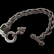 Vintage Sterling Silver And Citrine Etruscan Style Line Bracelet