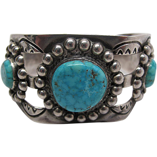 Vintage Mexican Silver Cuff Bracelet With Fine Water-Web Turquoise