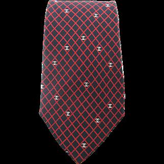 Vintage Chanel Mens Silk Logo Necktie With Diamond Pattern