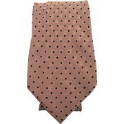 Vintage Chanel Mens Silk Damask Logo Necktie With Small Polka Dot Pattern