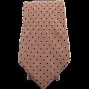 Vintage Chanel Mens Silk Damask Logo Necktie With Small Polka Dot Pattern