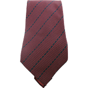 Vintage Chanel Mens Silk Logo Necktie With Red And Blue Stripes Dots And Dashes