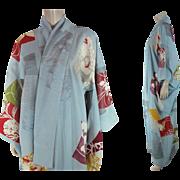 Vintage Pastel Blue Silk Crepe Three Mon Furisode Kimono