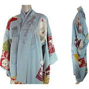 Vintage Pastel Blue Silk Crepe Three Mon Furisode Kimono - Red Tag Sale Item